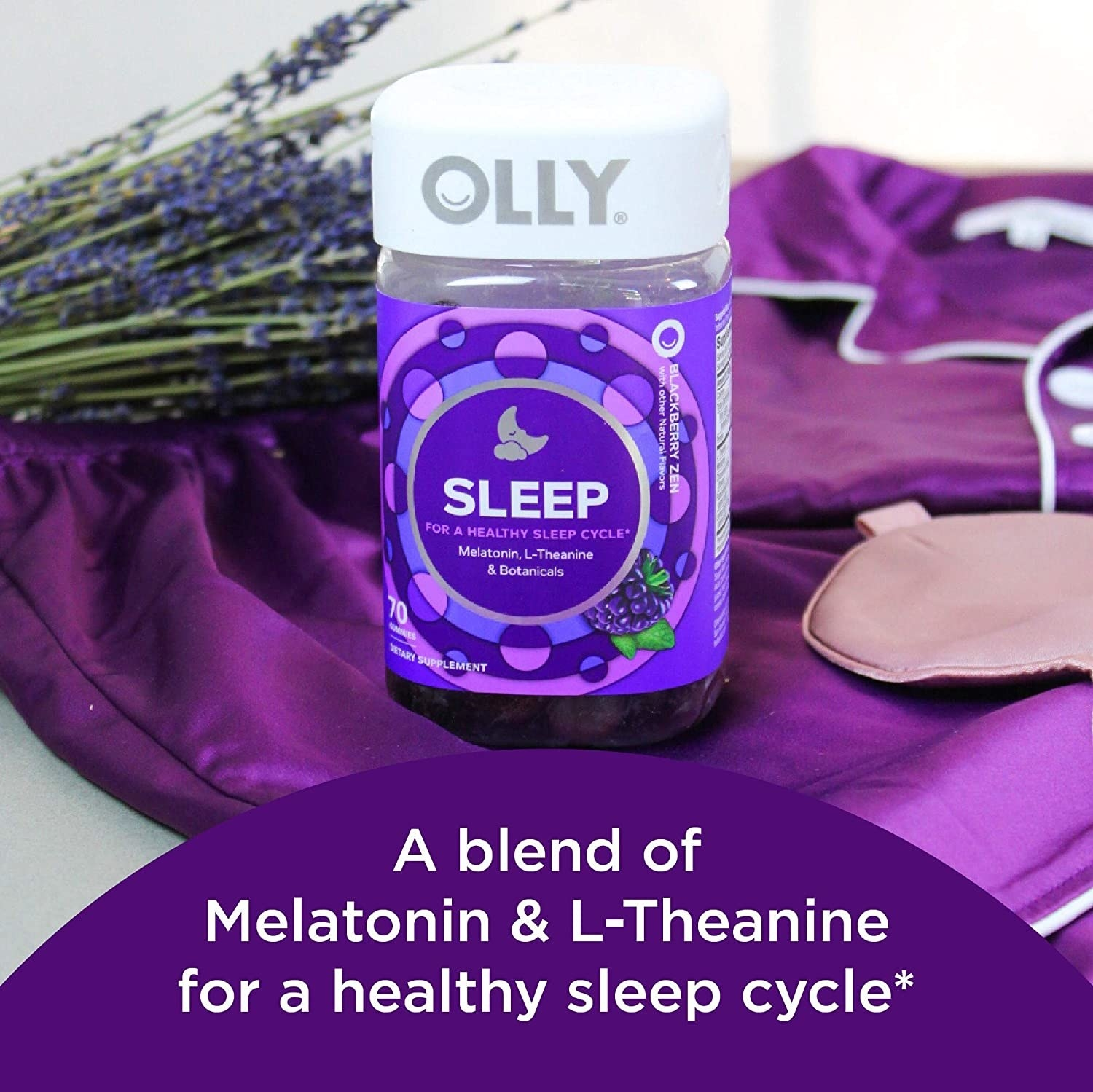 """the container of Olly gummies with words that say, """"a blend of melatonin and L-theanine for a healthy sleep cycle"""