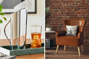 silver pitcher and brown armchair