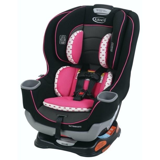 pink and black car seat
