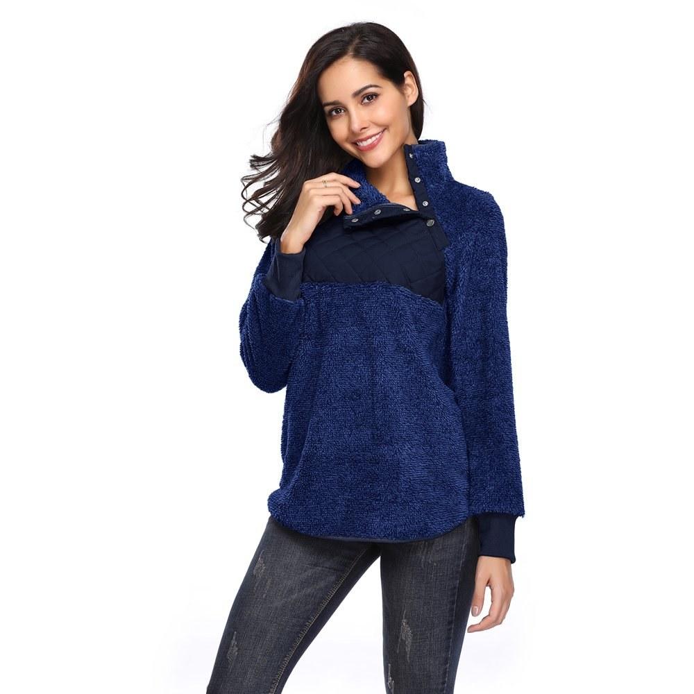 Model in fleece pullover turtleneck