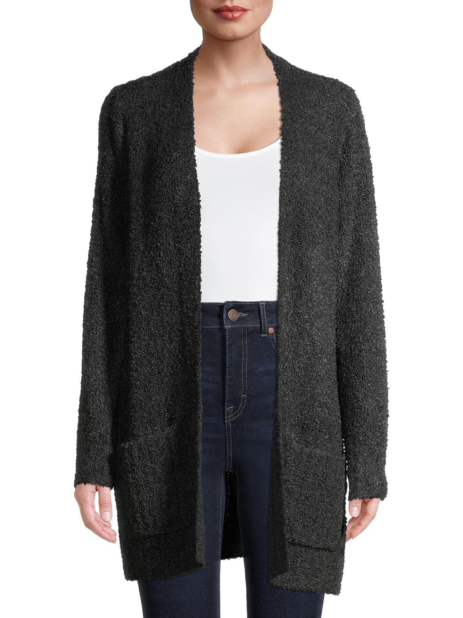 model in dark gray long open cardigan with pockets
