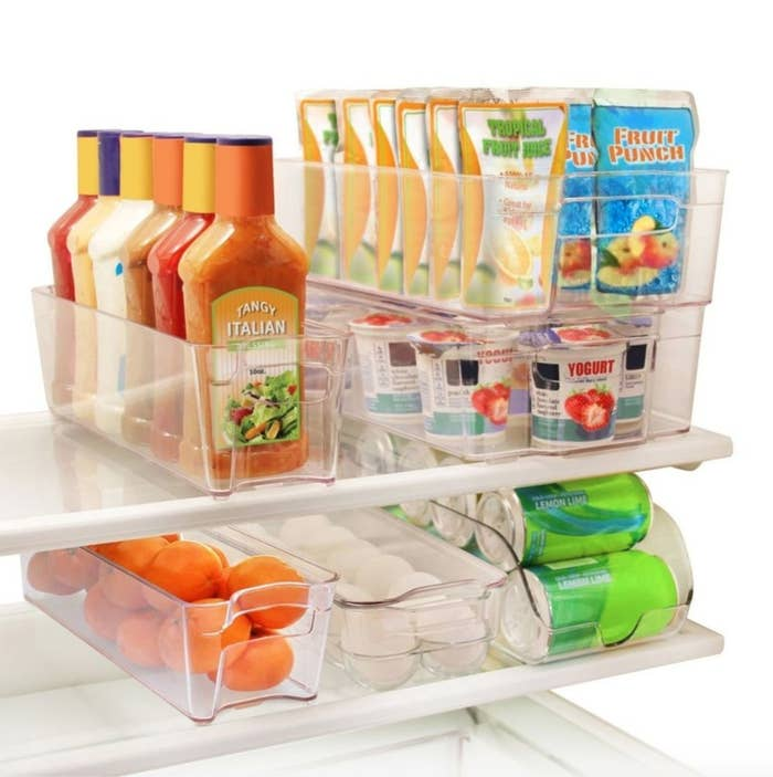 The six-piece set of stackable refrigerator organization bins