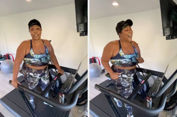 Lizzo, in workout gear, runs on a treadmill while belting a song