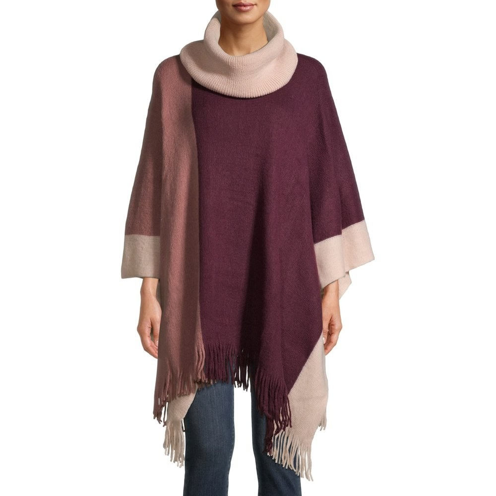 Model in cowl pink colorblock neck poncho