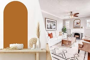A mid-century modern arch decal and a Moroccan rug