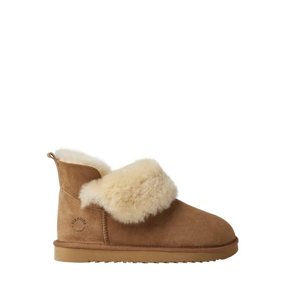 Beige faux-fur bootie slippers