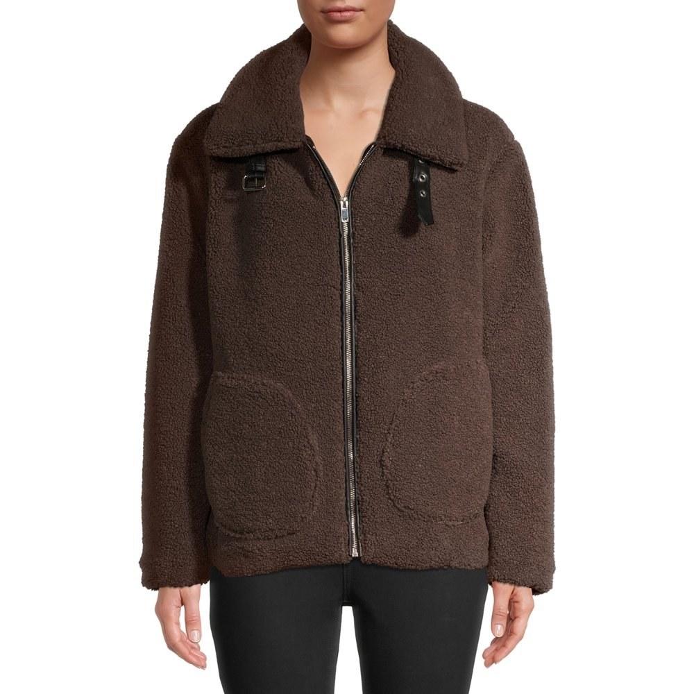 Model in faux sherpa jacket