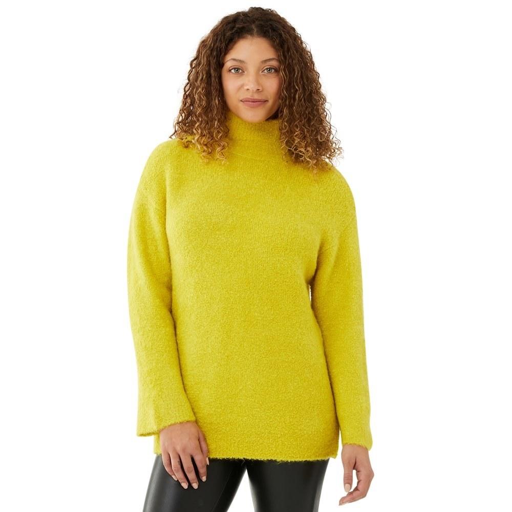 model in cozy funnel neck tunic sweater