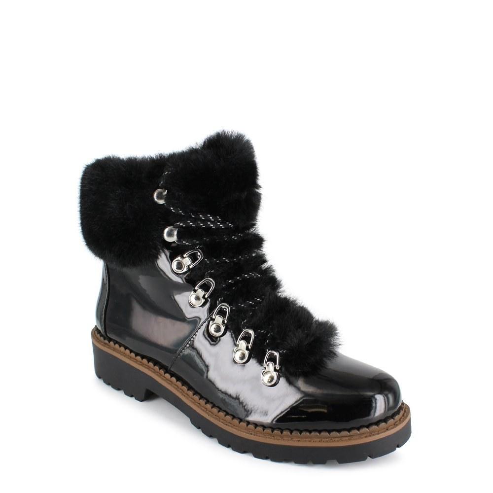 black lace up faux fur boots