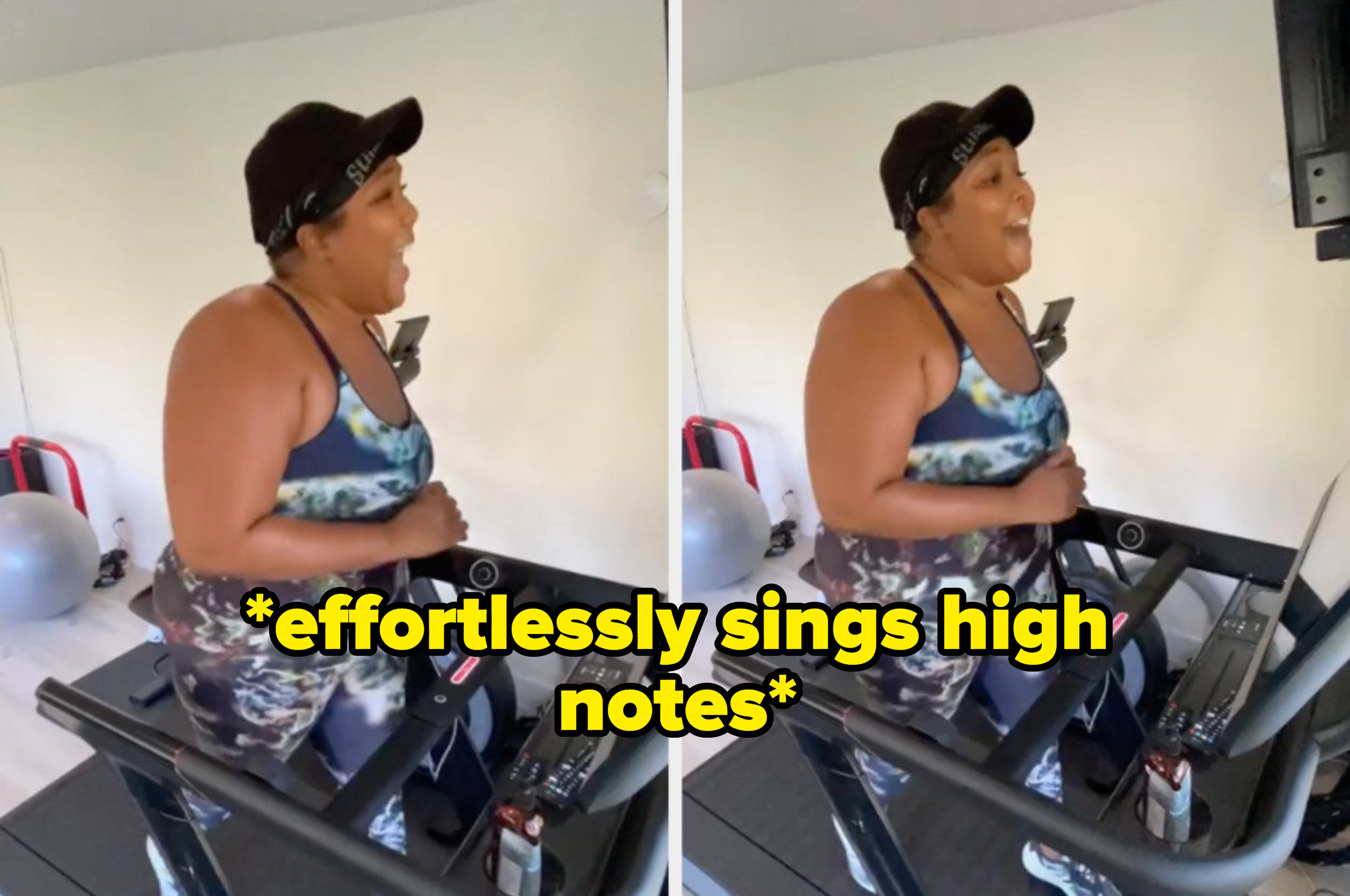 """Lizzo singing on the treadmill with the caption: """"effortlessly sings high notes"""""""