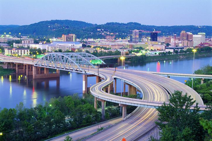 West Virginia city with bridge