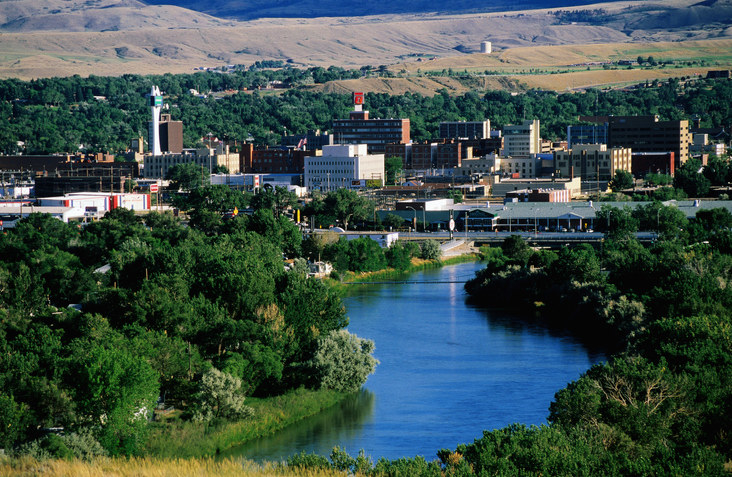 Wyoming city with river