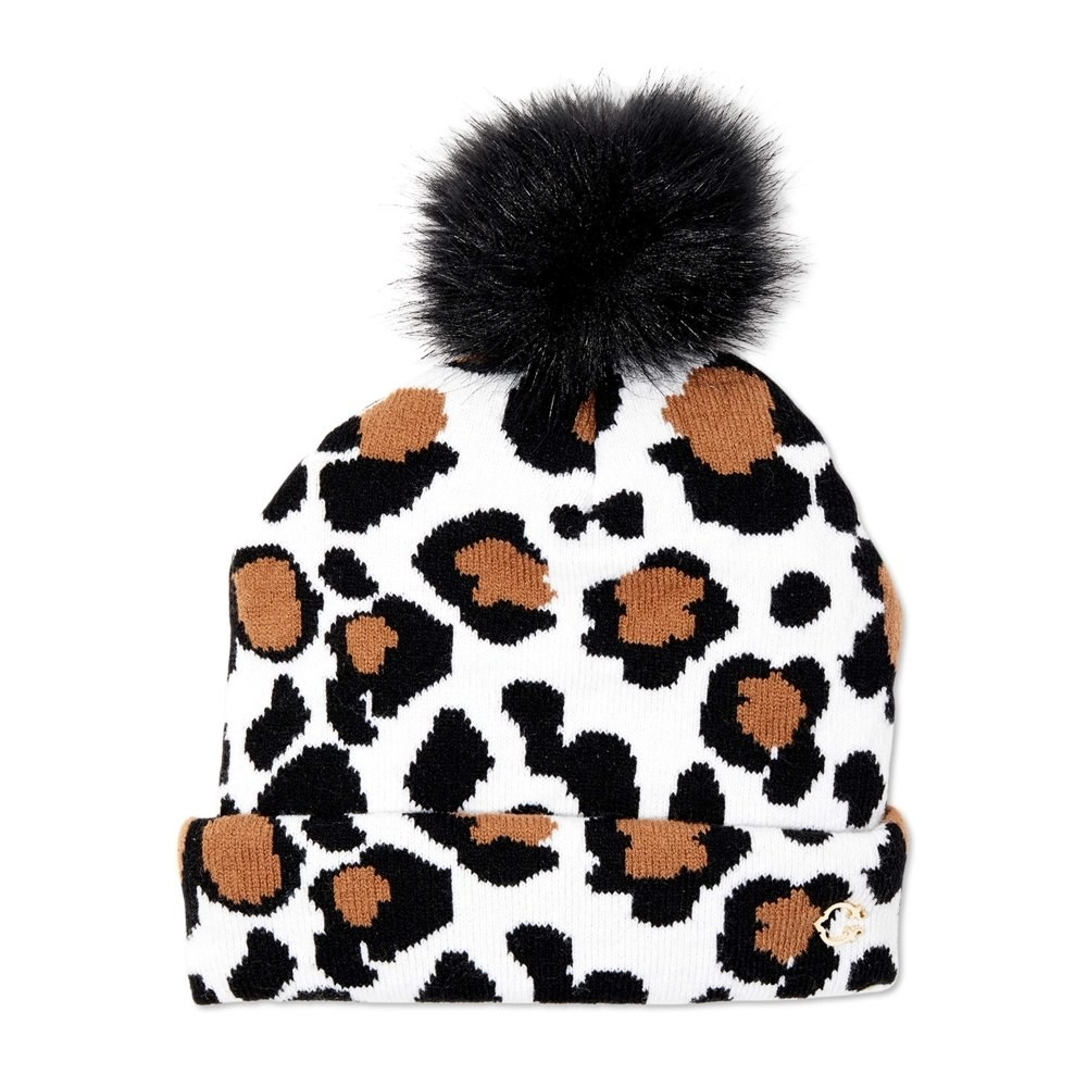 Cheetah beanie with pom