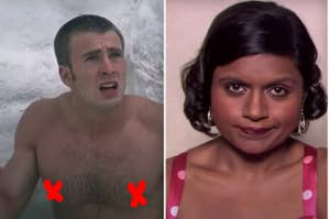 Side-by-sides of Chris Evans, Kelly Kapoor, and Captain Marvel