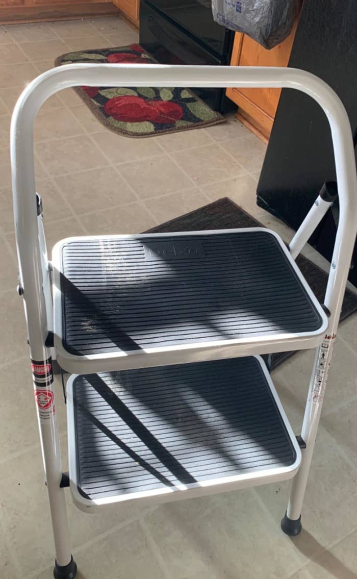 Reviewer photo of the two-step ladder