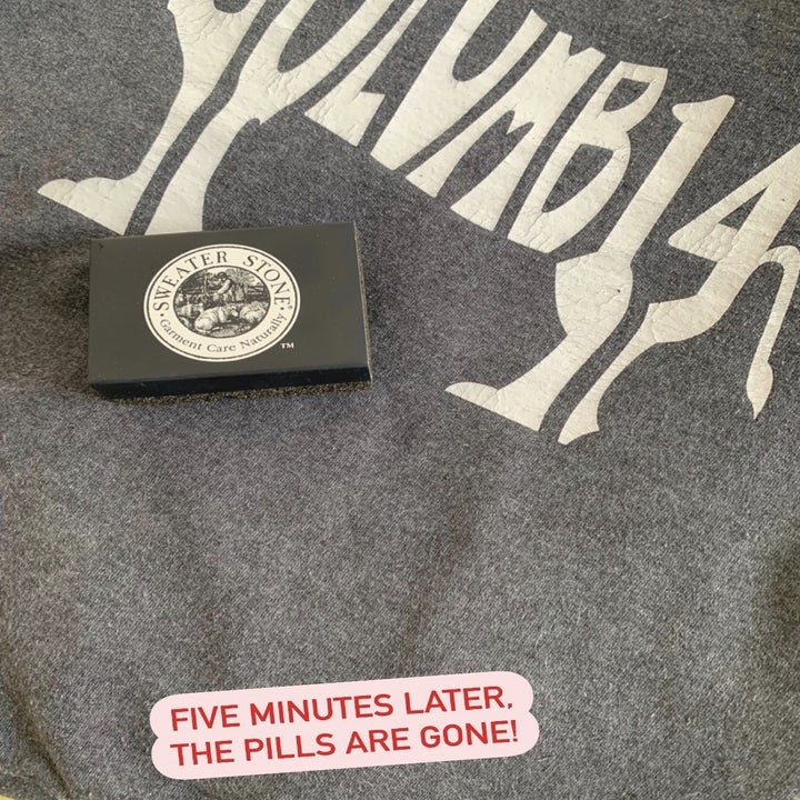 """the stone on top of the smooth-looking sweatshirt, with the text """"five minutes later, the pills are gone!"""""""