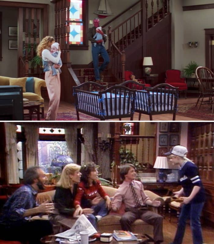 "Wanda and Vision holding their twins in their living room vs. the Keaton family hanging out in their living on ""Family Ties"""