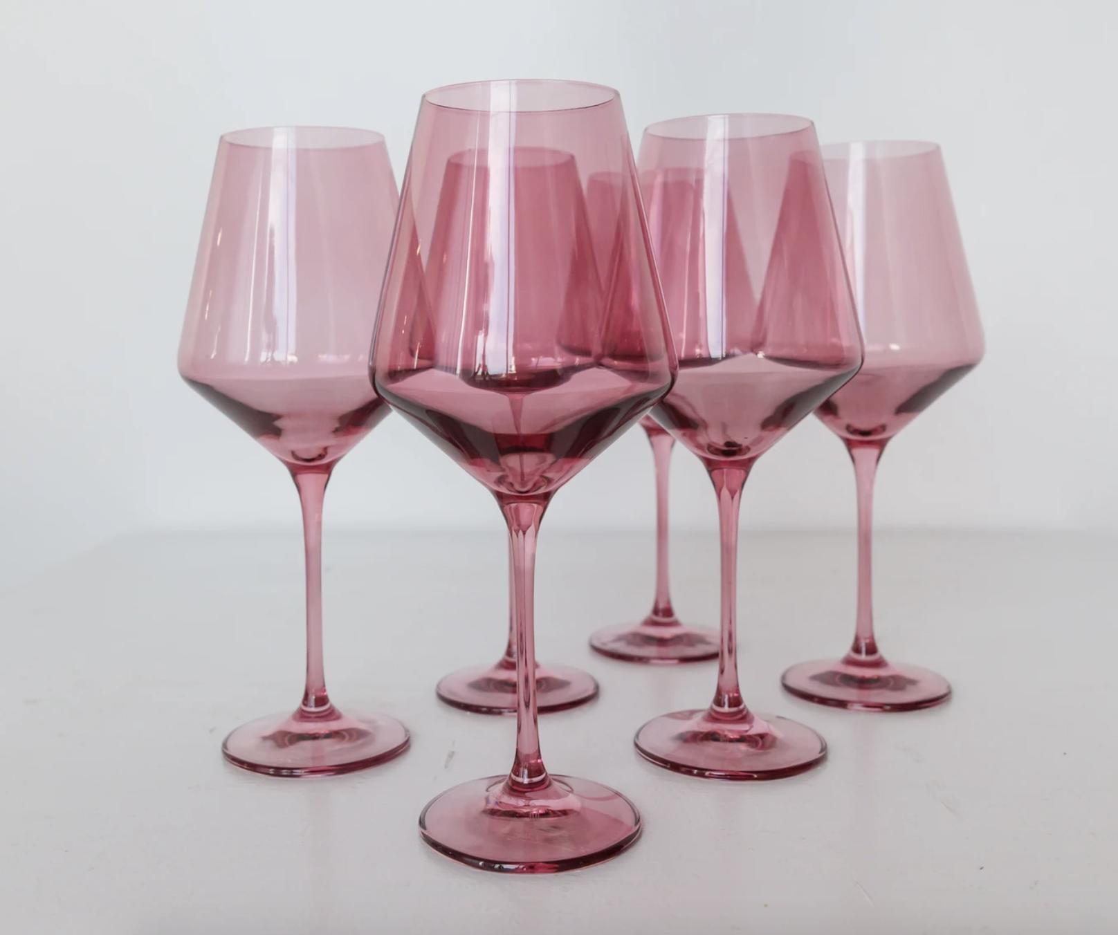 a set of six rose colored wine stemware