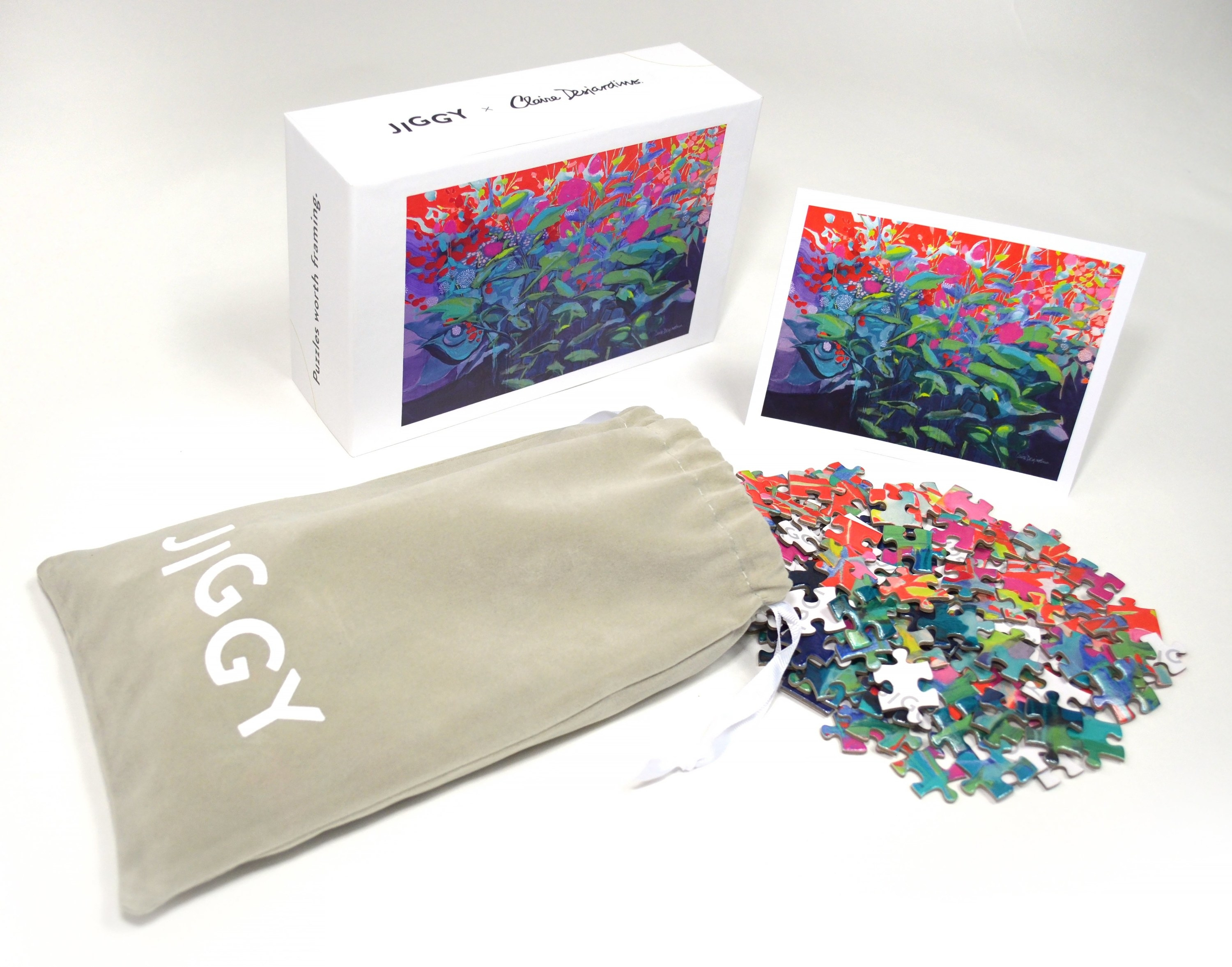 a colorful pile of puzzle pieces next to a pouch and a box showing what the puzzle is