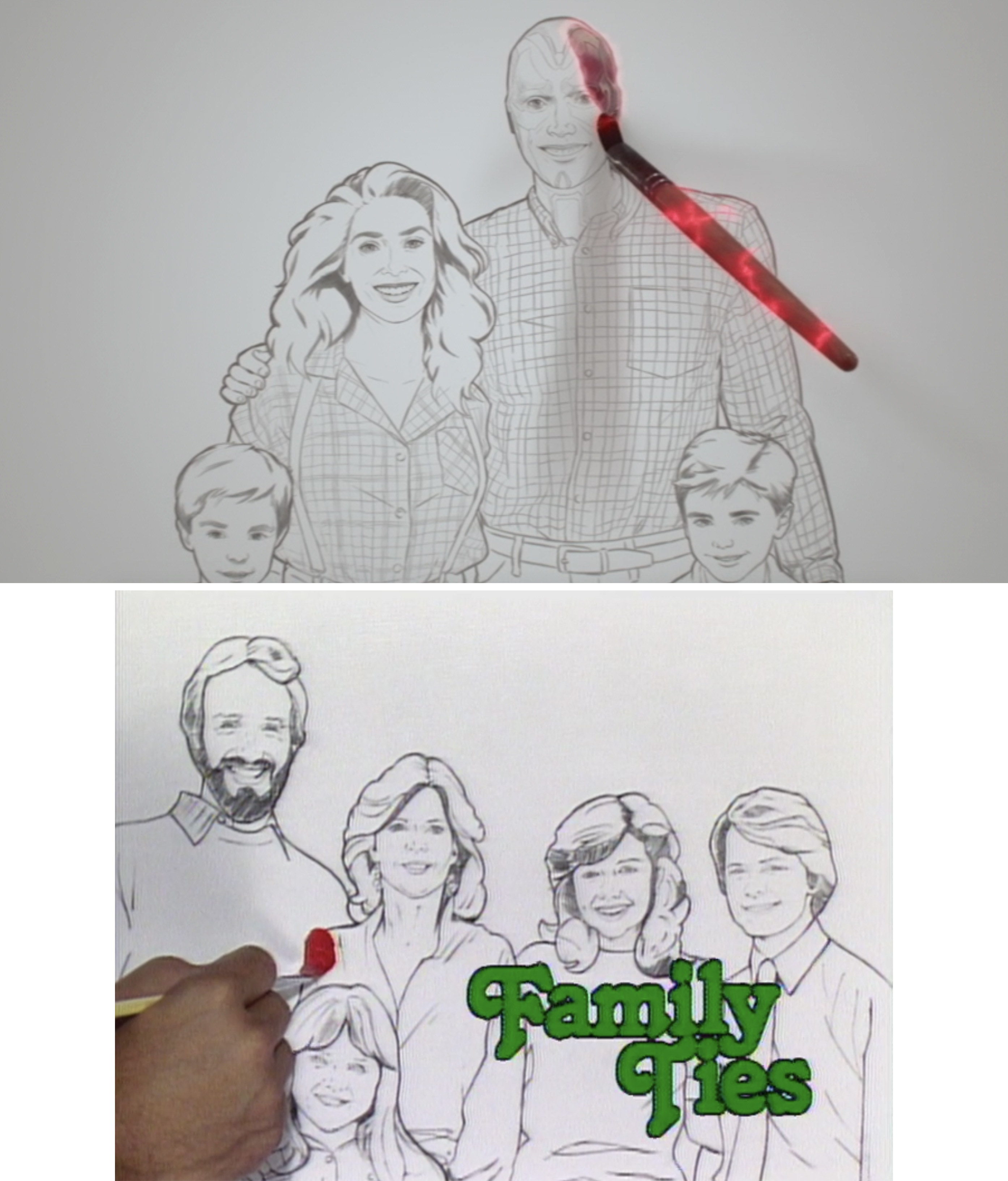 "Wanda, Vision, Billy, and Tommy as a drawing vs. the drawing of the Keatons on ""Family Ties"""