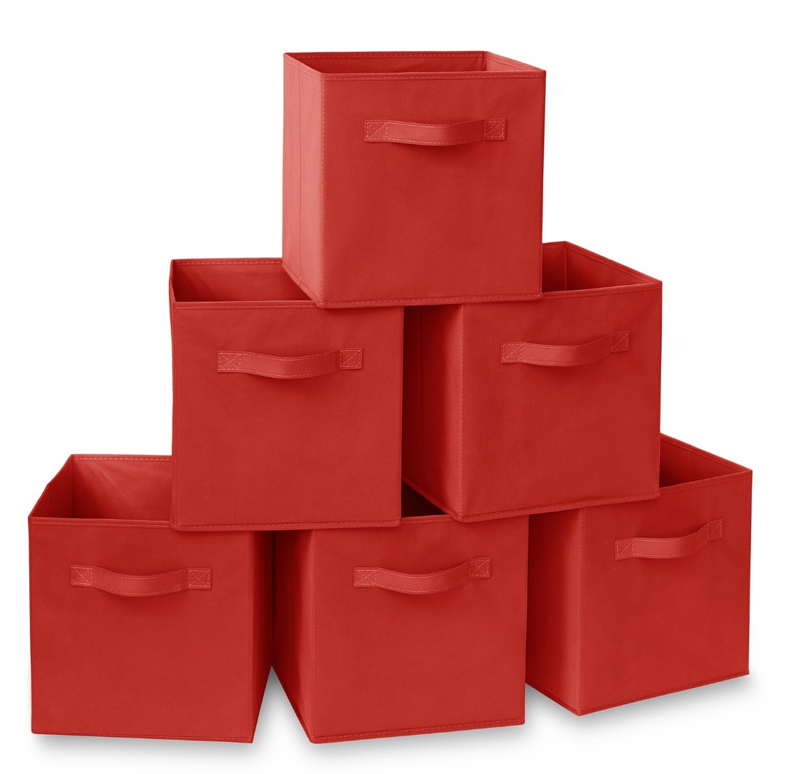 The set of six collapsible storage cubes in red