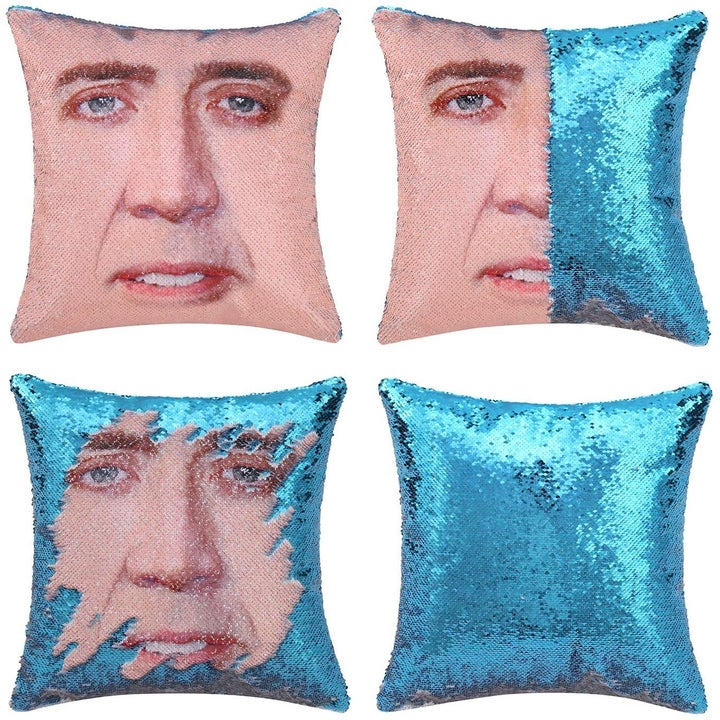 the Nicolas Cage sequin pillow in electric blue