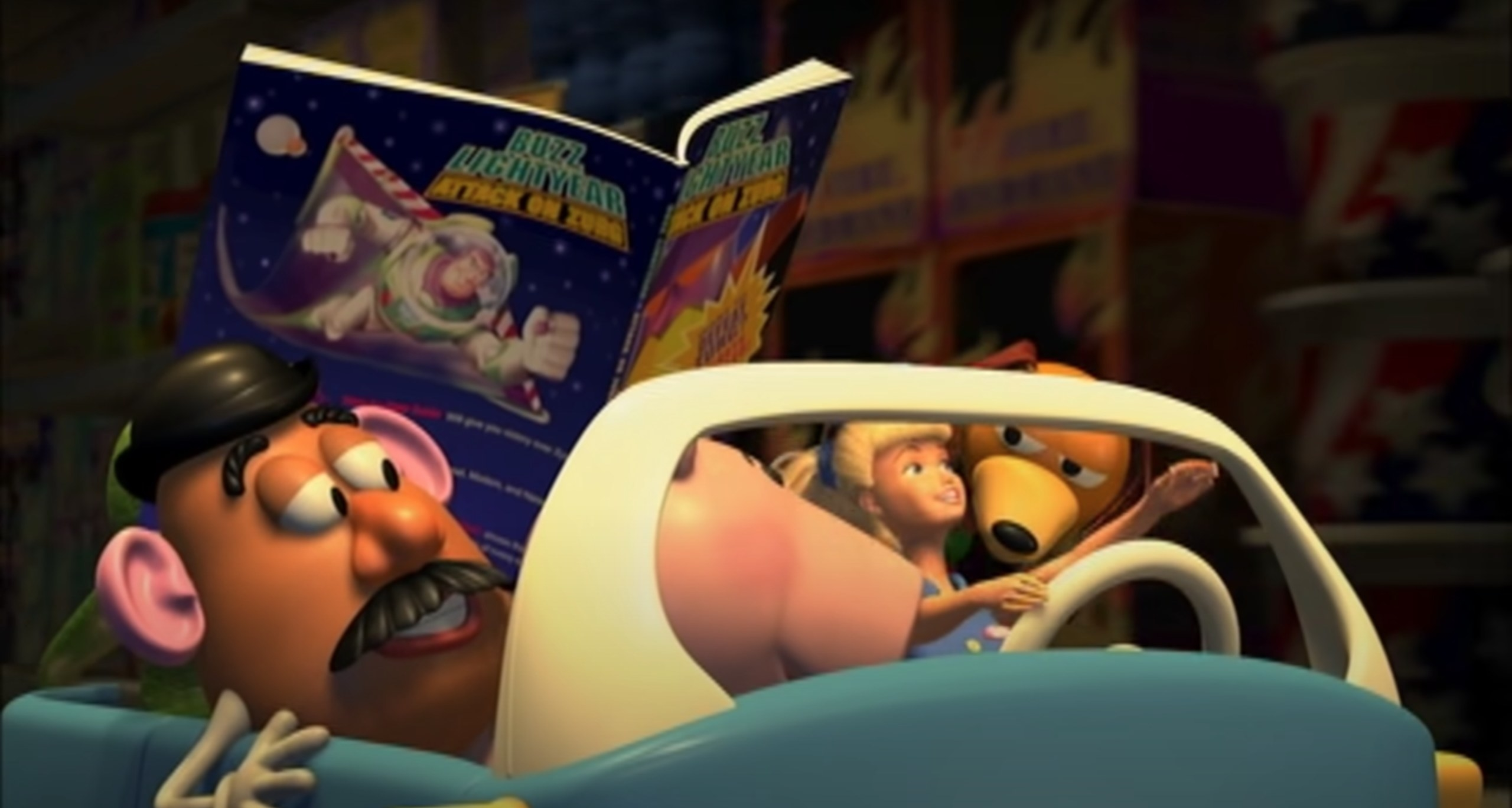 screenshot of toy story where the characters are driving in a car, in the car is mr potato head, a dog and barbie