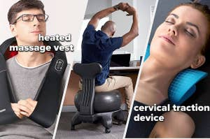 A heated massage best, balance ball chair, and a cervical traction device for your neck
