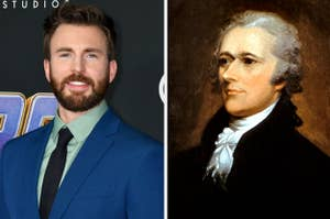 Side-by-side images of Chris Evans and Alexander Hamilton