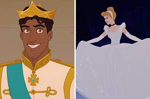 """On the left, Prince Naveen from """"The Princess and the Frog,"""" and on the right, Cinderella twirling in her gown"""