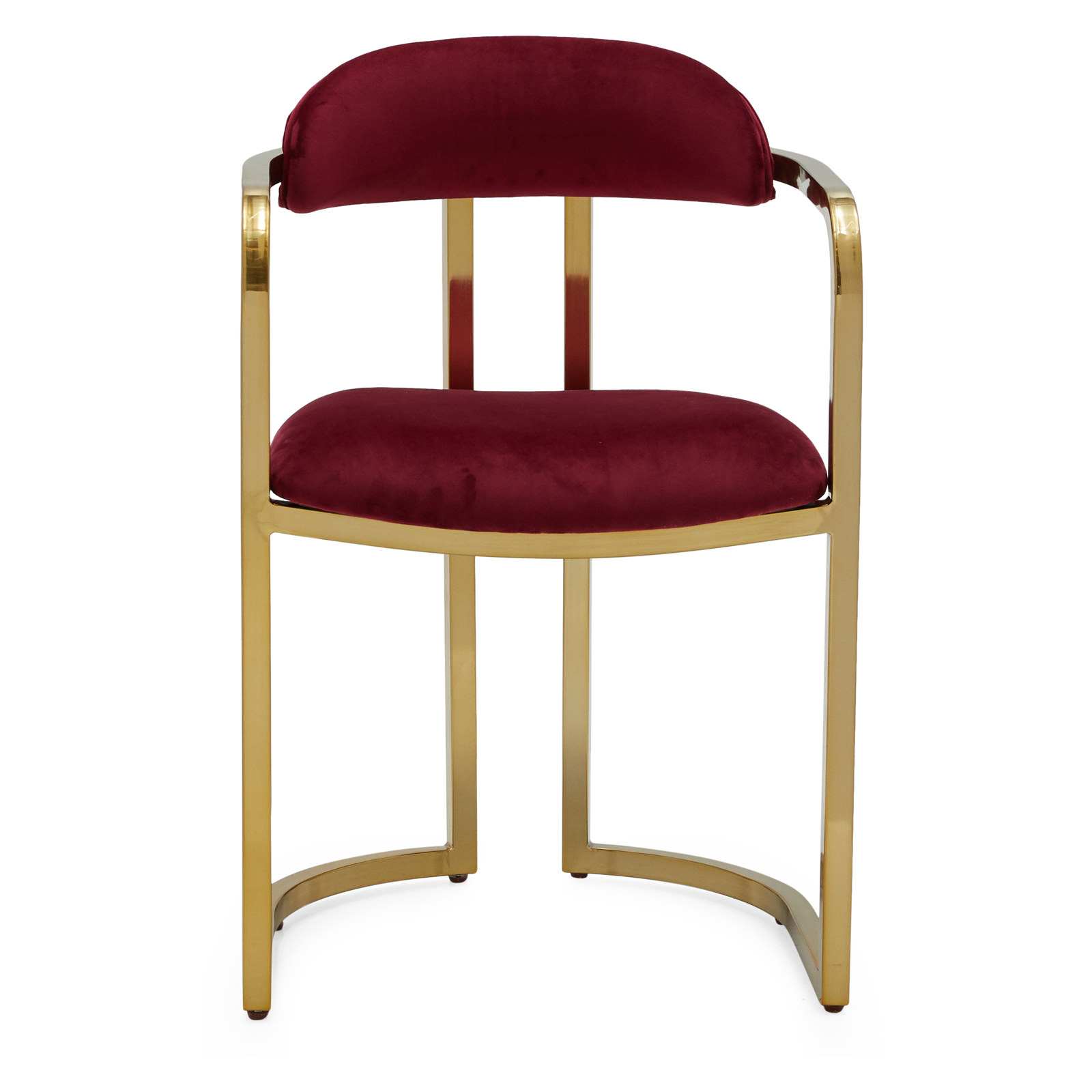 The chair, which has a burgundy velvet seat and upper back support, and two Art Deco arches in its frame