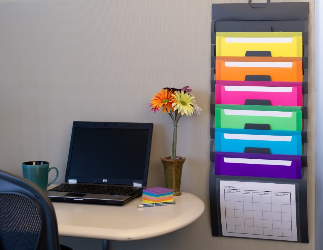The cascading wall organizer in rainbow