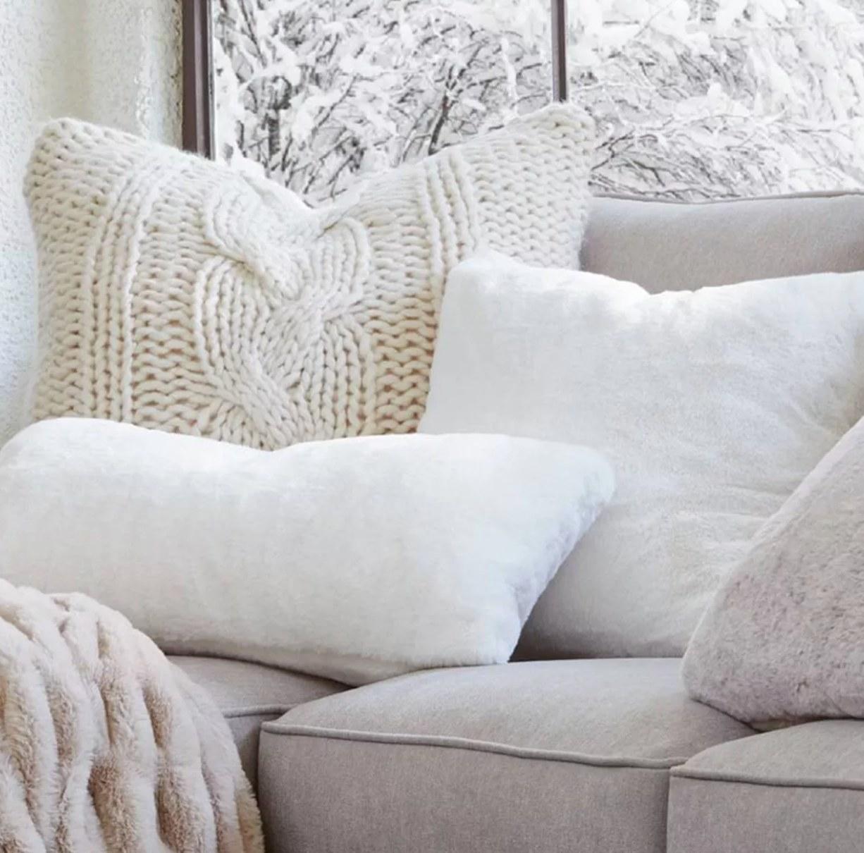 The faux rabbit pillow