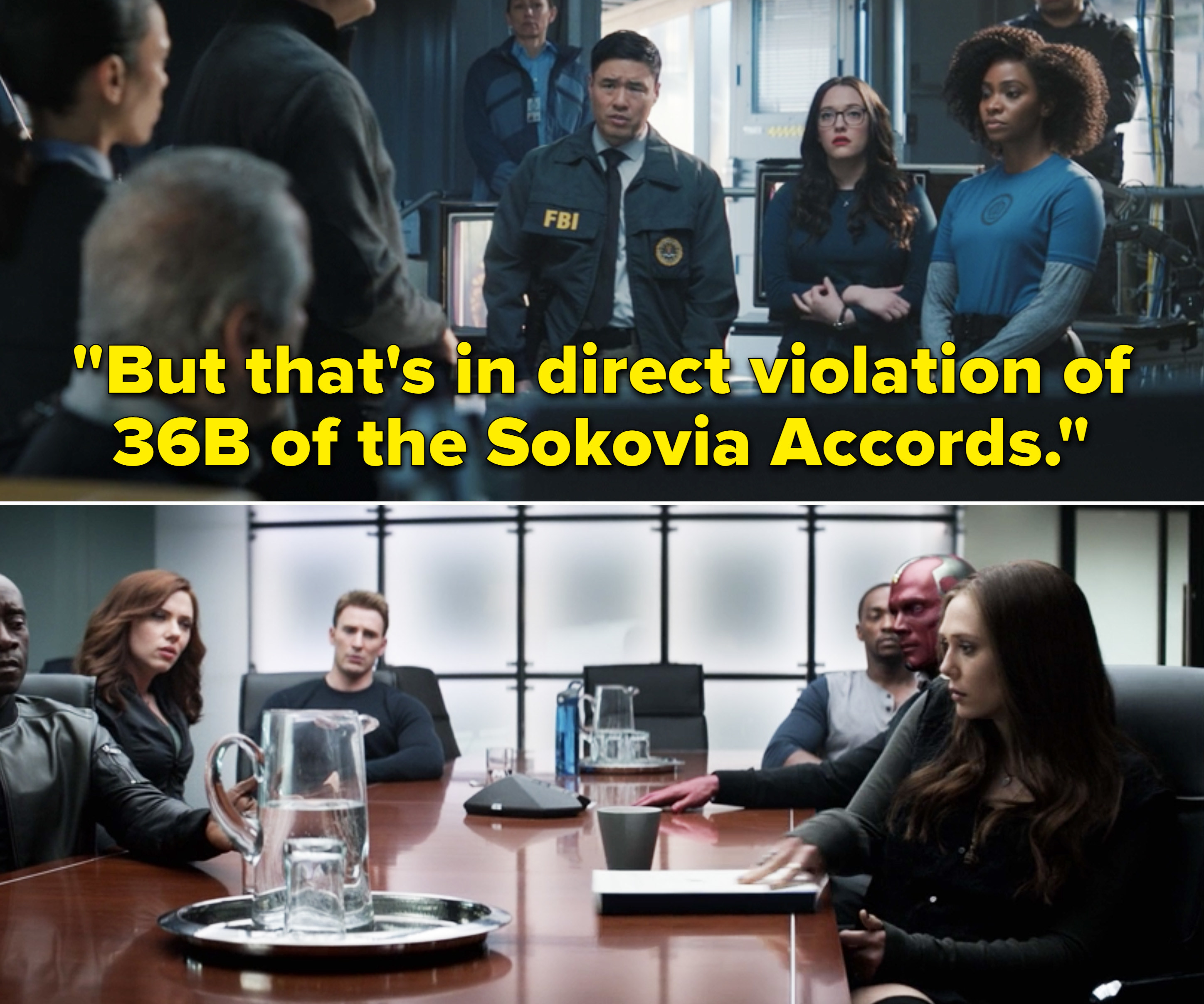 "Jimmy saying, ""But that's in direct violation of 36B of the Sokovia Accords"""