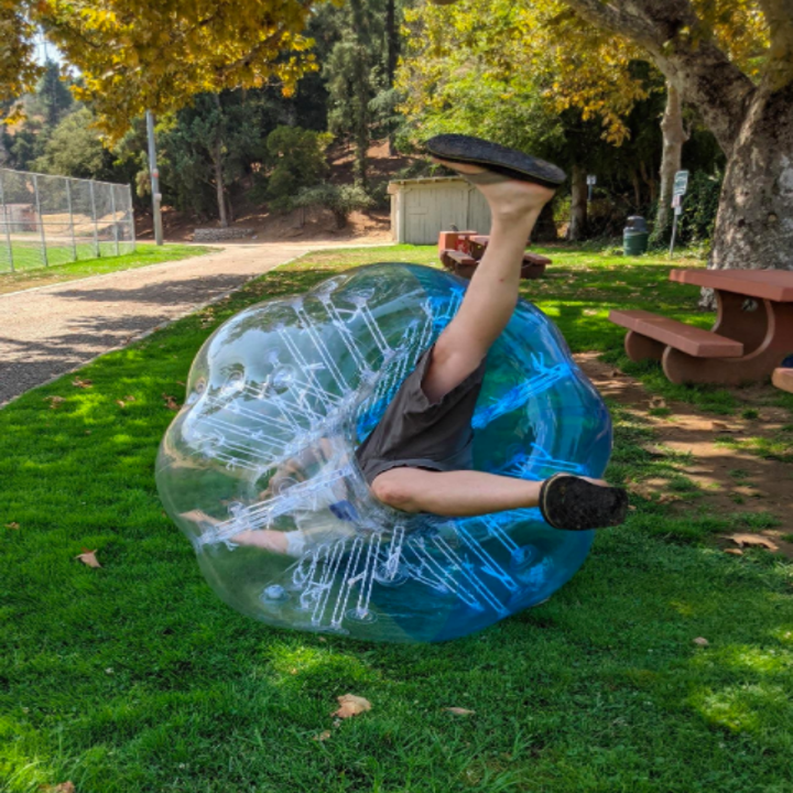 a reviewer inside of the Zorb ball and rolled over in the grass