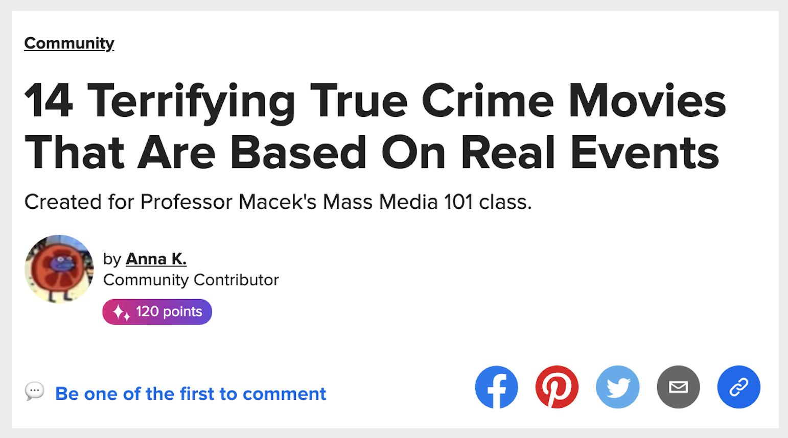 a buzzfeed headline that says 14 terrifying true crime movies that are based on real events