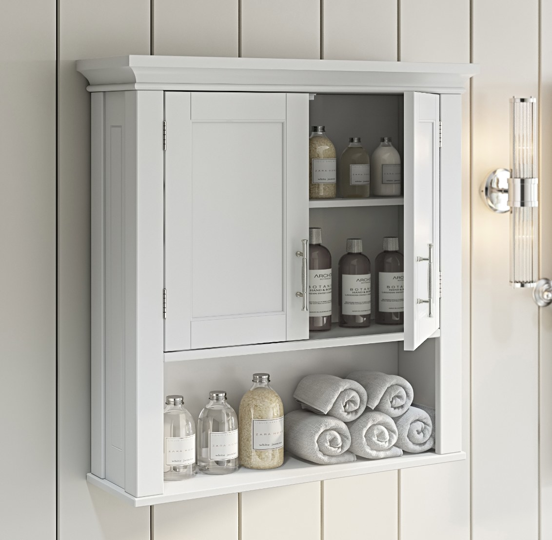 The bathroom storage wall cabinet in white