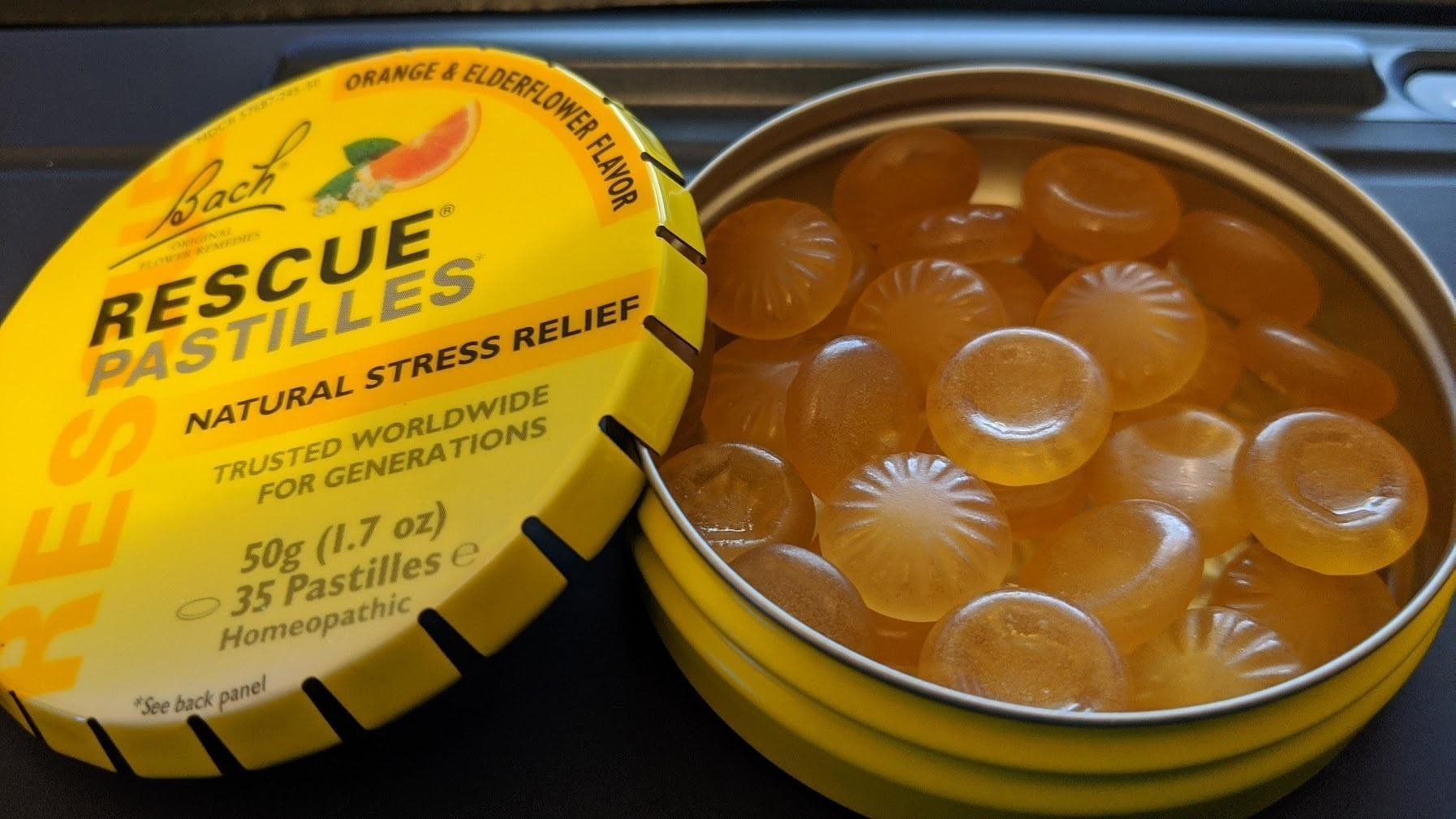 reviewer photo of the tin of rescue pastilles