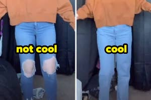 """a pair of skinny jeans with the text """"not cool"""" and a pair of baggy jeans with the text """"cool"""""""