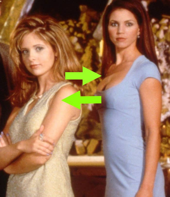 Buffy and Cordelia with arrows pointing between them