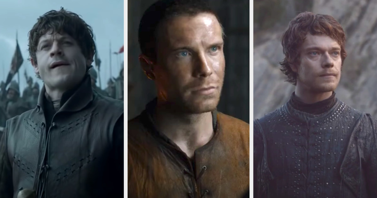 Iwan Rheon, Joe Dempsie, and Alfie Allen as Ramsay, Gendry, and Theon
