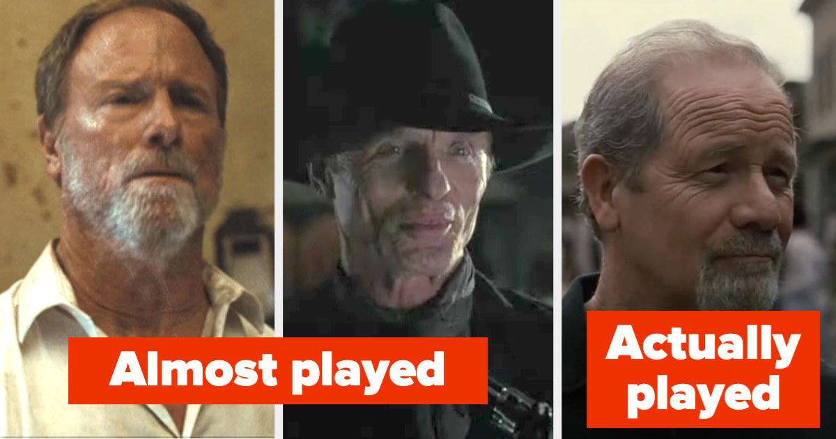 "Peter Abernathy and the man in black with the label ""almost played"": and Peter Mullan as James Delos with the label ""actually played"""