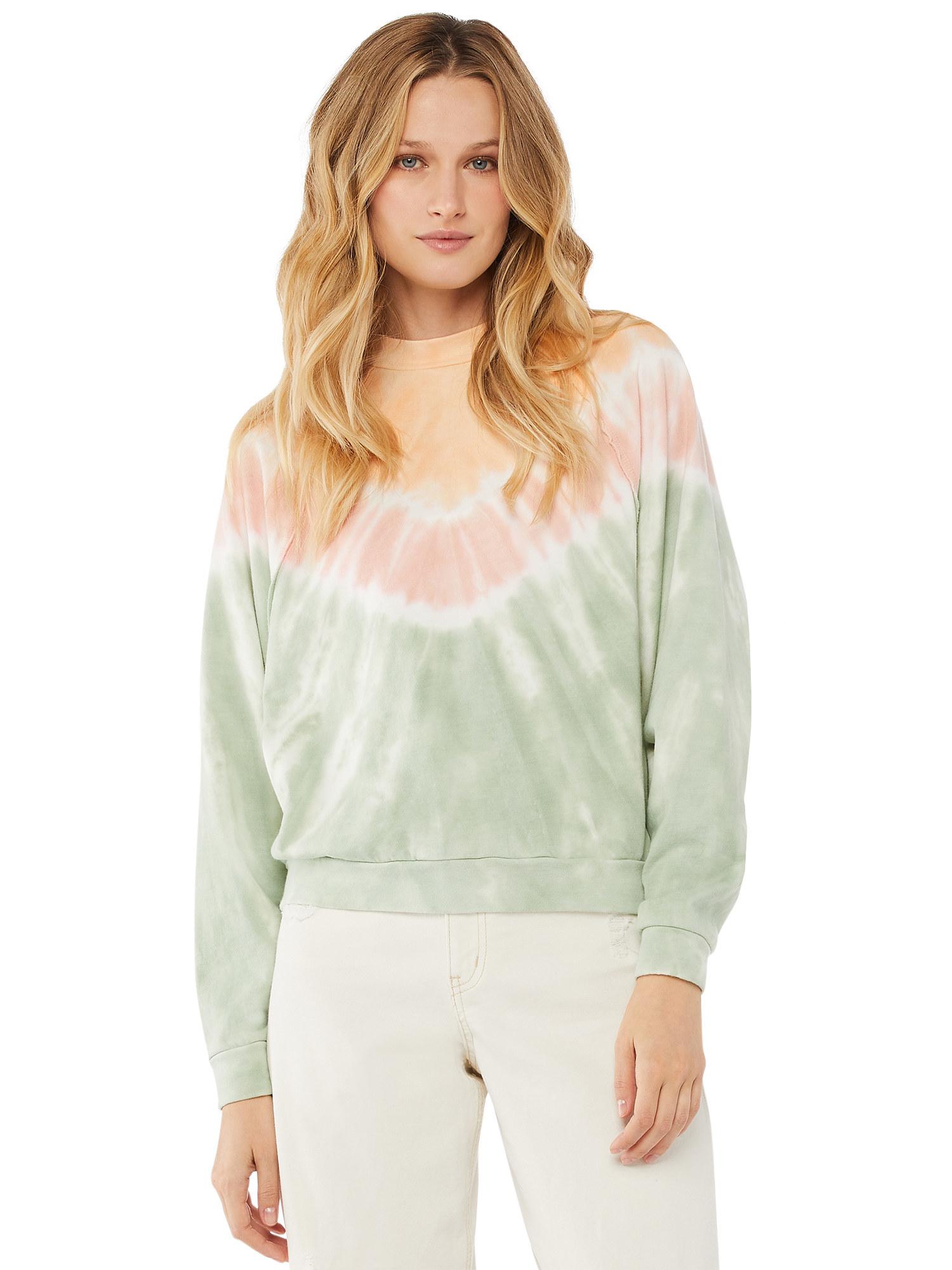 Model in tie dye sweatshirt