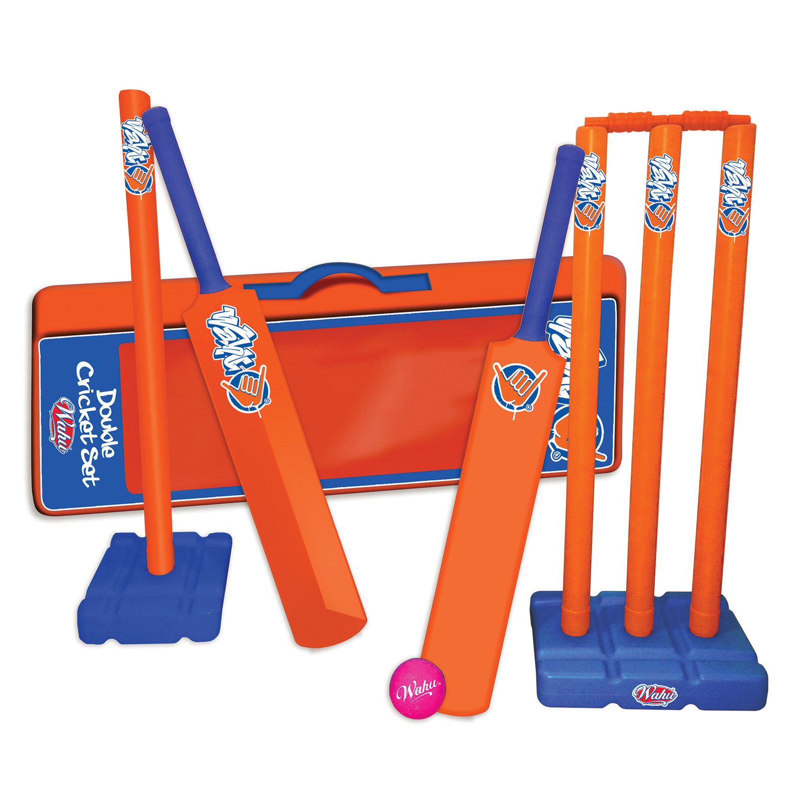 Beach cricket set with two bats, two stumps, a ball and a carry bag