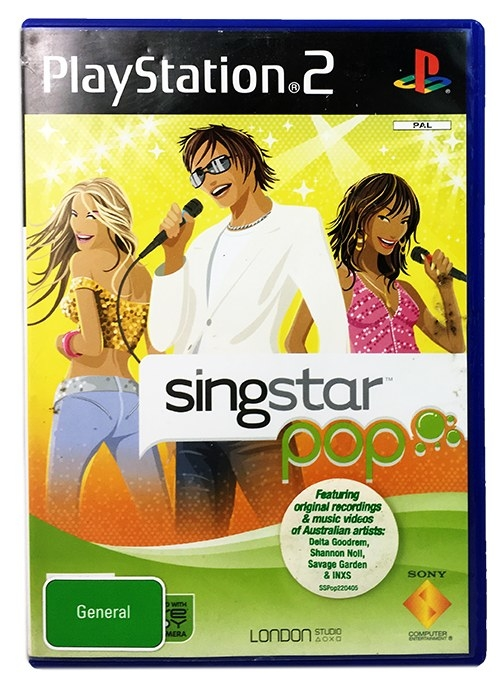 Singstar Pop cover featuring one male and two female cartoons singing into microphones