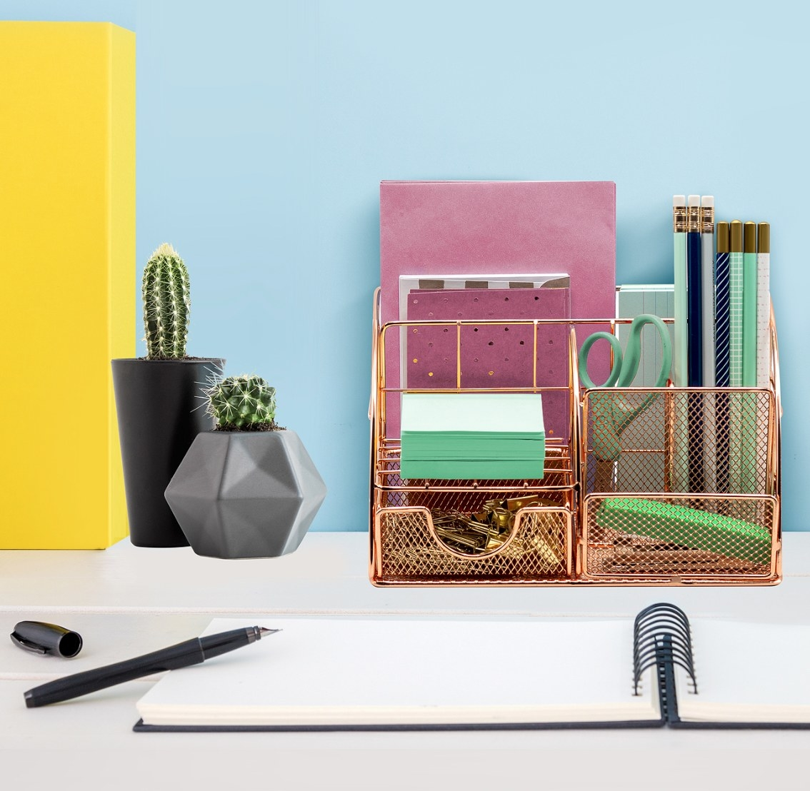 The desk organizer caddy in rose gold