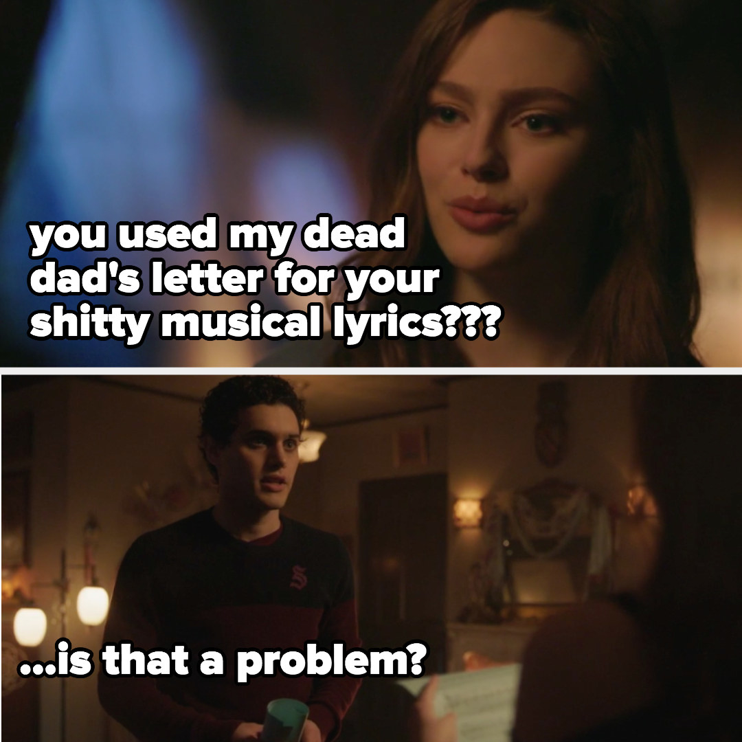 """Hope: """"You used my dead dad's letter for your shitty musical lyrics?"""" Landon: """"Is that a problem?"""""""