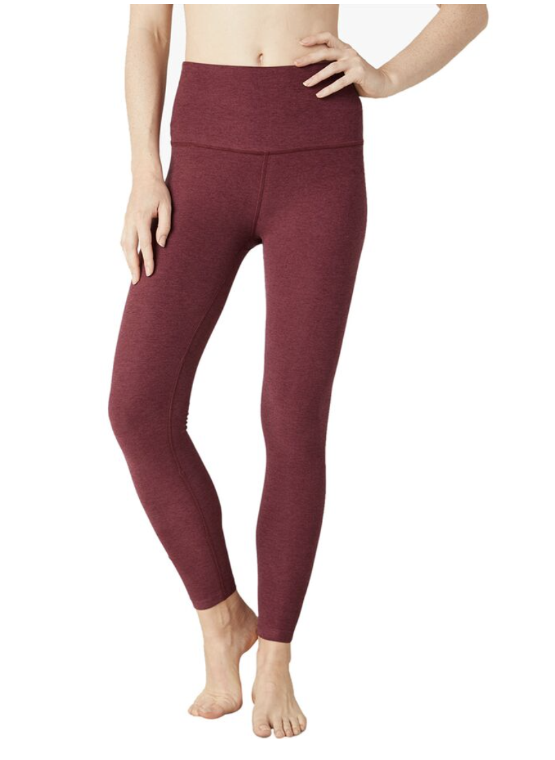 Red space dye leggings with a high-waist and ankle-grazing inseam