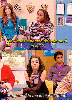 "Andre from Victorious saying, ""How does a person go from an A to a D,"" and Jade replies ""Happened to me in eighth grade."""