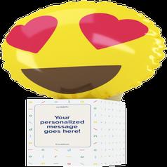 a heart eyes emoji balloon